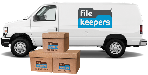 File Keepers LA File Storage van with boxes, filekeepers los angeles