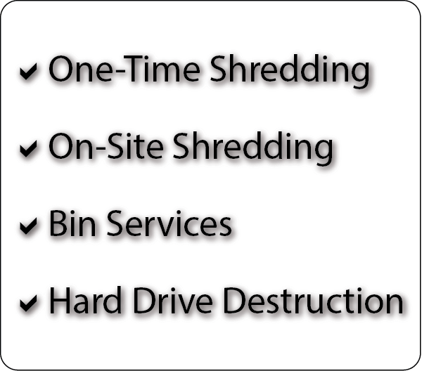 One-Time Shredding On-Site Shredding Bin Services Hard Drive Destruction