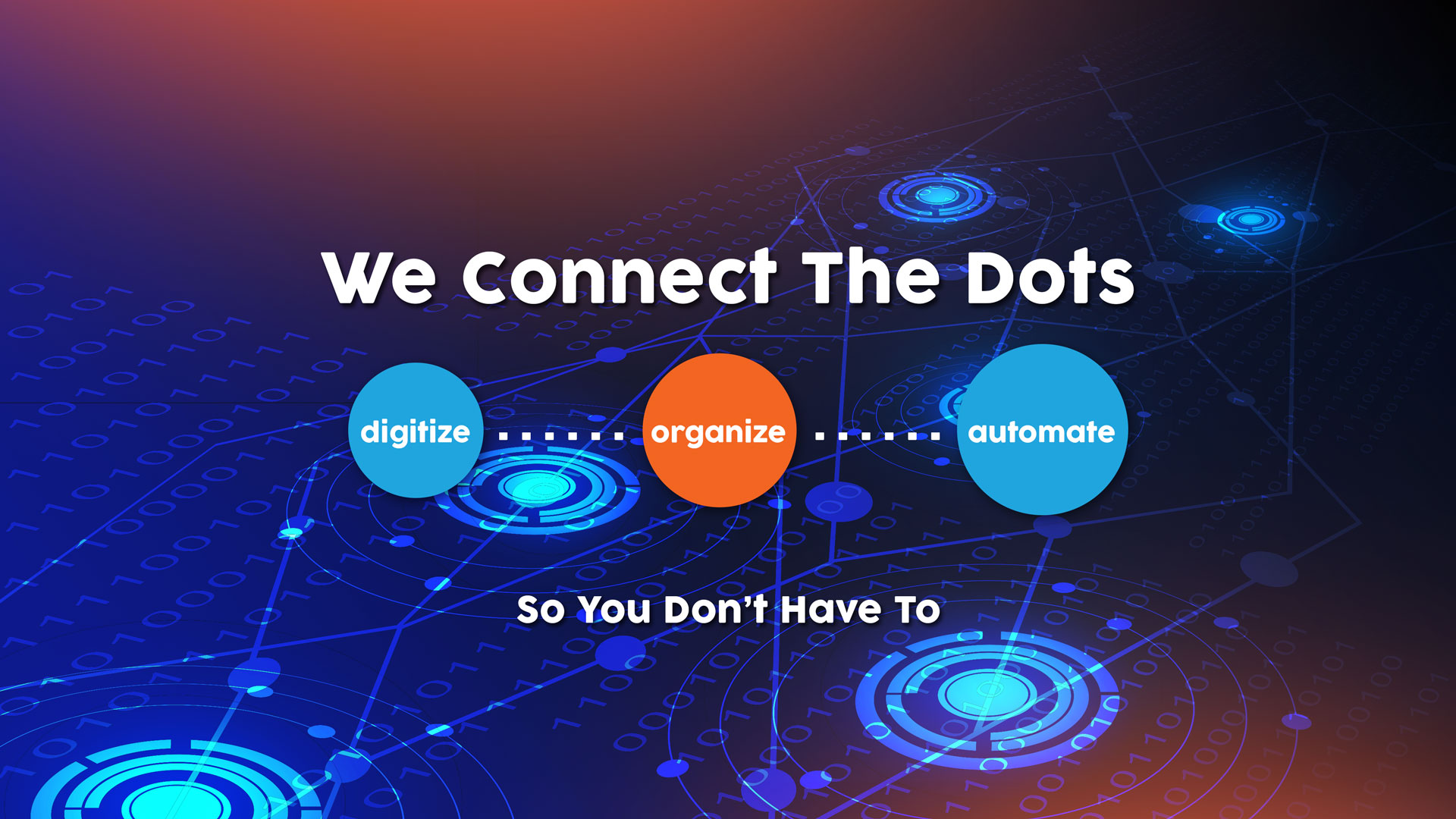 Digitize, Organize, Automate. We connect the dots so you don't have to.